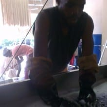 Russell Assisting Nolundi in the dyebath