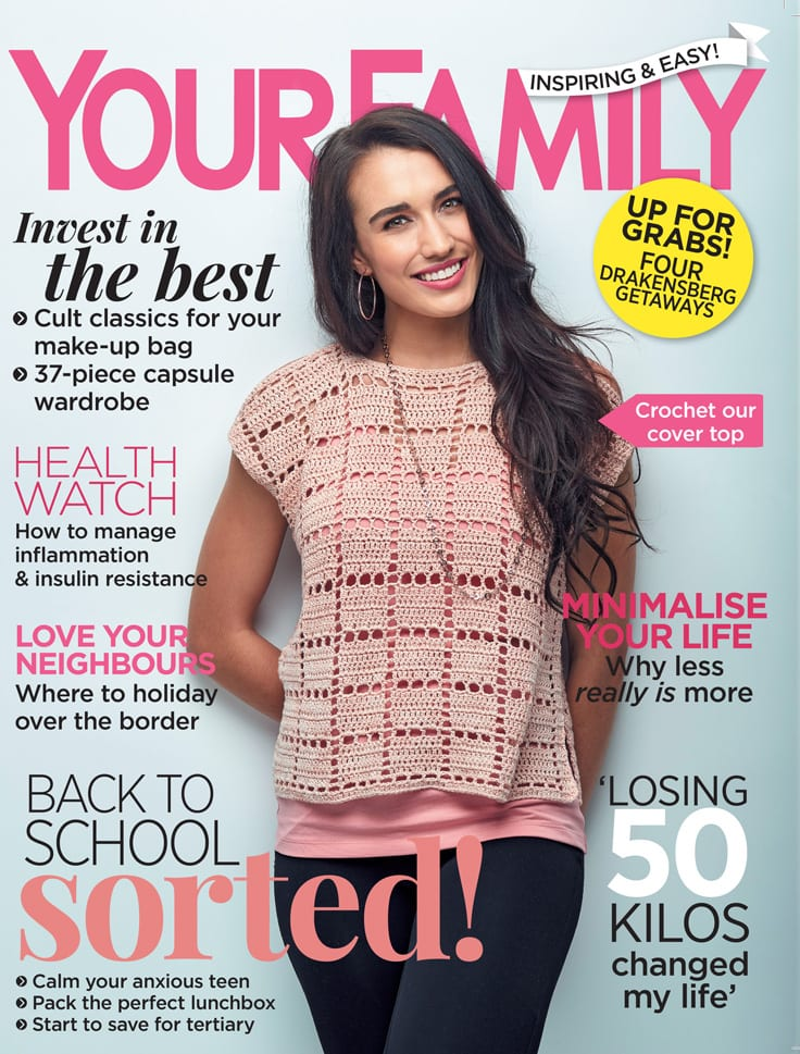 Your Family Magazine February 2018  Featured Pattern: Cold Shoulder Top (Cover)