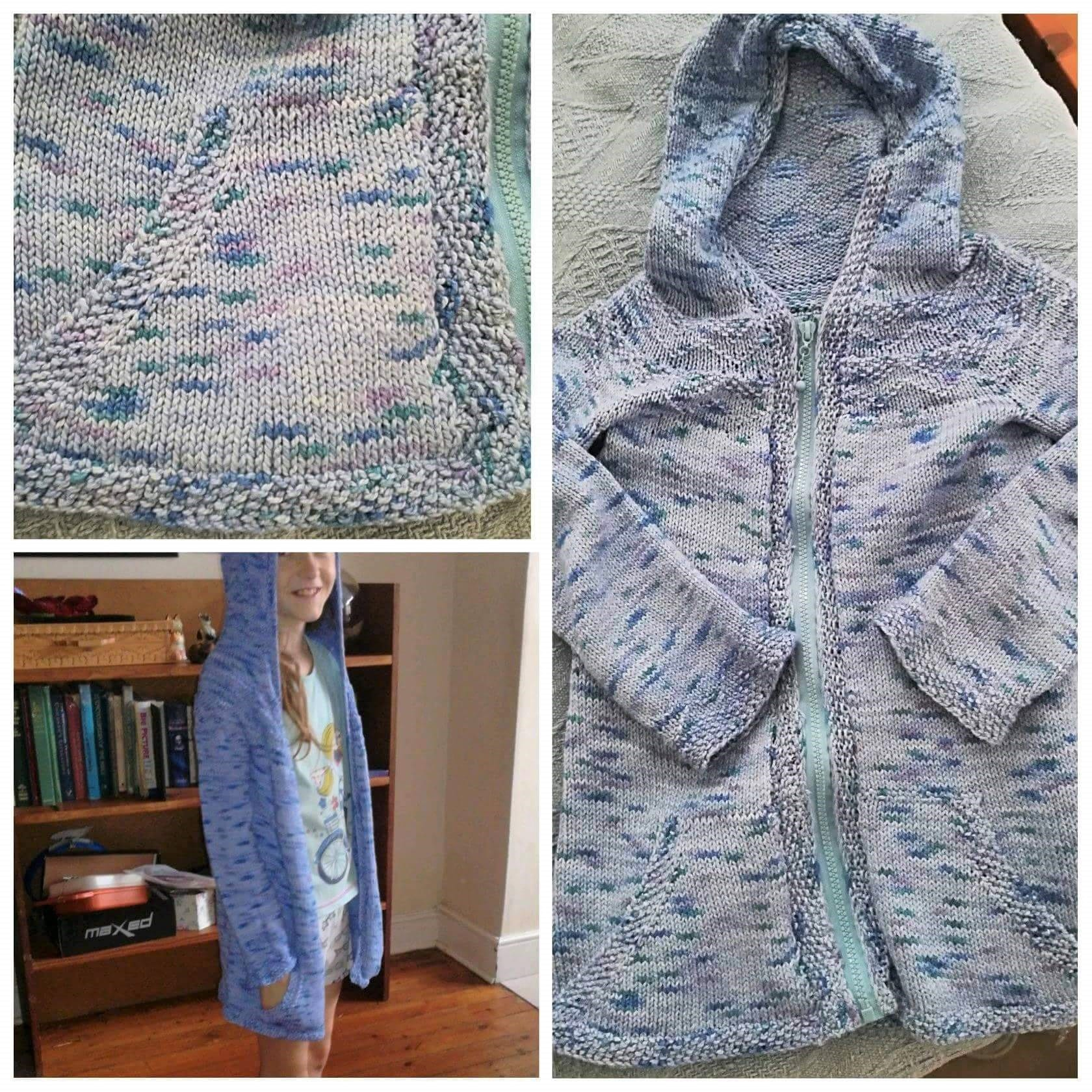910f170b423c Judy used Eco-Cotton and knitted a  zipline  hoodie for her daughter. She  used Wisteria