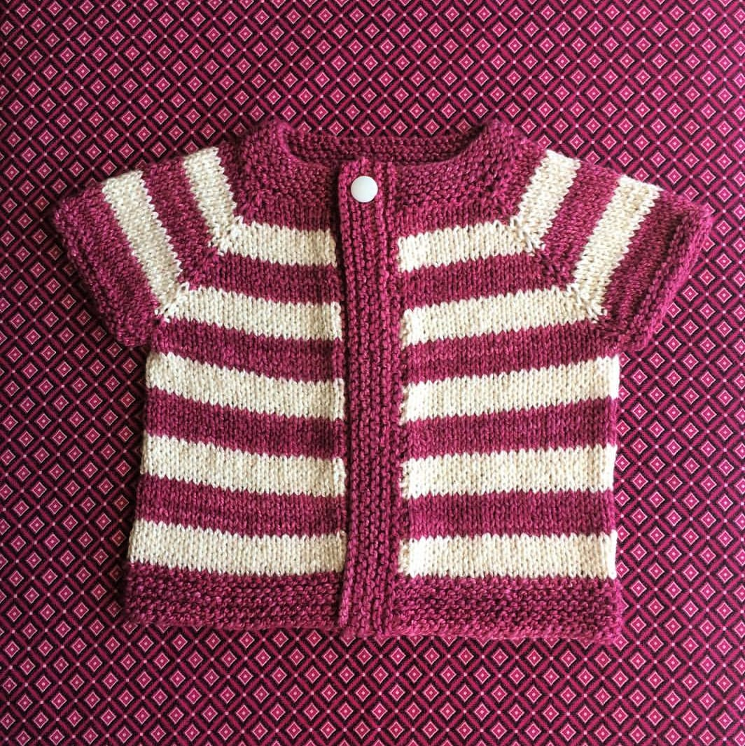 bd04eb756 doesn t have any social media accounts. She used Bordeaux and Vanilla in  Eco-Fusion to knit the Fuss Free Baby Cardigan